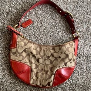 Coach Hobo purse Red leather and Jacquard print